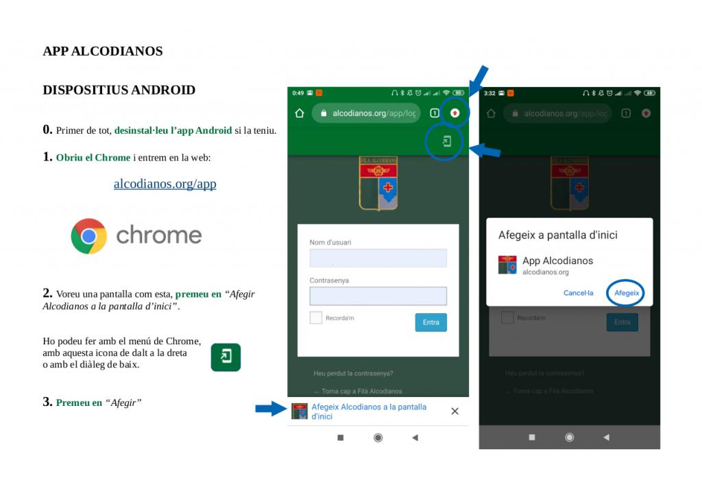 instruccions app 1 android